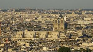 Paris von oben Aussicht Eiffelturm Notre Dame
