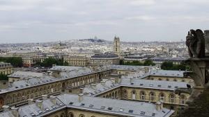 Paris von oben Aussicht Notre Dame Figur