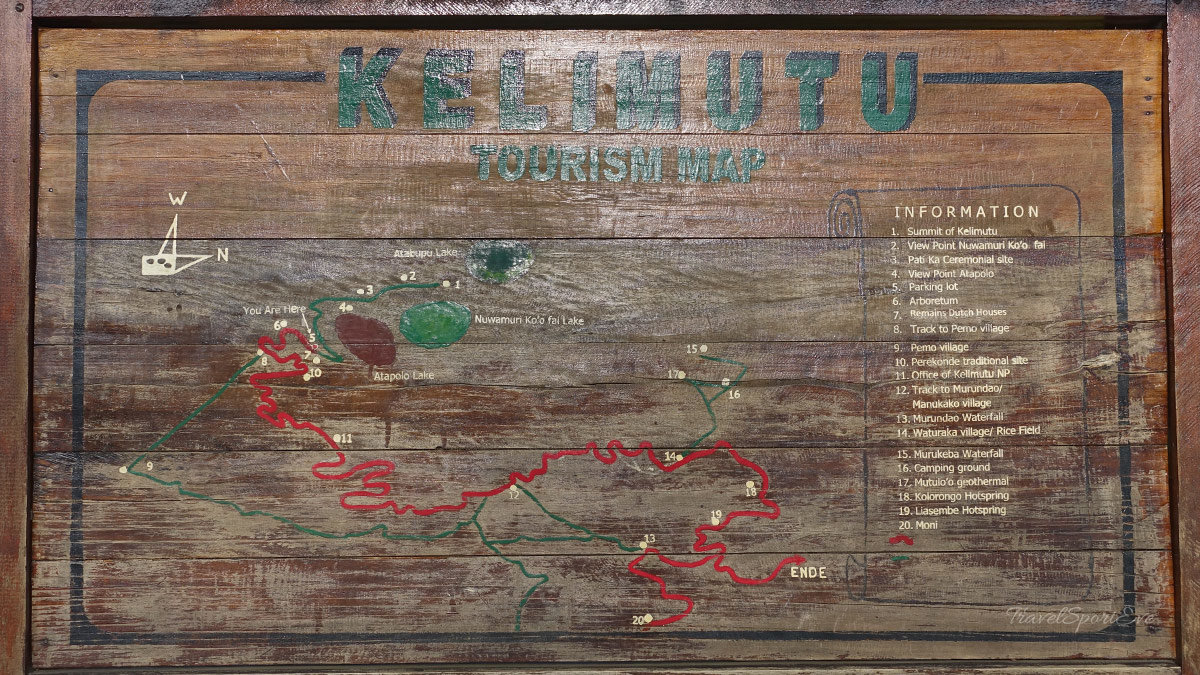 Besteigung Vulkan Kelimutu Flores Indonesien Karte