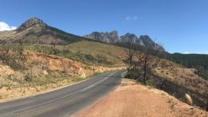 Garden Route Südafrika Radreise Bains Kloof Pass Abfahrt